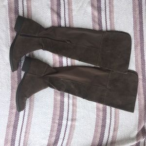 Tall suede riding boots